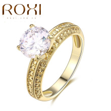 2017 ROXI Classic Rings Gold Color Sparkling Cubic Zirconia Wedding Engagement Forever Ring For Women Gifts Fashion Jewelry
