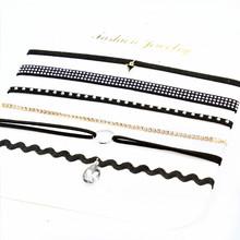 PU Leather Choker Necklaces Set for Women Steampunk Collar Lace Necklace Jewelry Gothic Tattoo Collier Femme