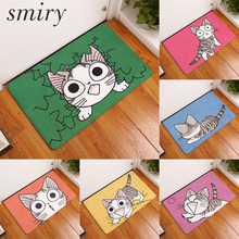 Smiry non-slip commercial door mats for entrance door large water absorption cute funny sweet kitten cat pattern carpets decor