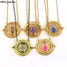 5 colors Time Turner Necklace Hermione Granger Rotating Spins Gold Hourglass Necklace & Pendants Women Holiday Gifts Free Ship(China)
