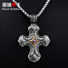 Steel soldier stainless steel Thailand style cross stone pendant unqiue titanium steel jewelry for women and man as gift(China)