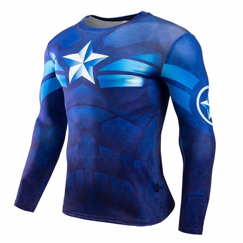 Marvel Gyms Clothing Fitness Compression Shirt Men Batman t-shirt men Long Sleeve 3D t shirt men Crossfit Tops tee shirt homme 28