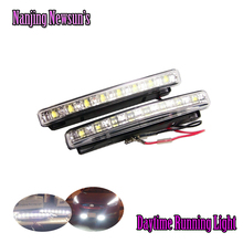 Discount price DRL 8 LED Daytime Running Light Parking Fog lamp kit Car Truck SUV Trailer Motorcycle Head light DRL Car lamps(China)