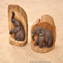 Unique handmade wood sculpture elephant decoration crafts wood carving elephant(China)