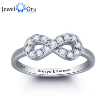 Personalized Infinity Love Promise Ring Simple Style 925 Sterling Silver Jewelry Free Gift Box (Silveren SI1786)(China)