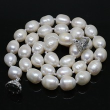Elegant white natural freshwater barrel rice pearl beads 7*8mm 11*13mm necklalce noble women jewelry 18inch B1457(China)