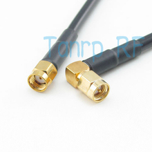 Freeshipping!  20INCH RP-SMA male plug to SMA male plug Right Angle RF Pigtail jumper coaxial cable RG58 50CM Wholesale