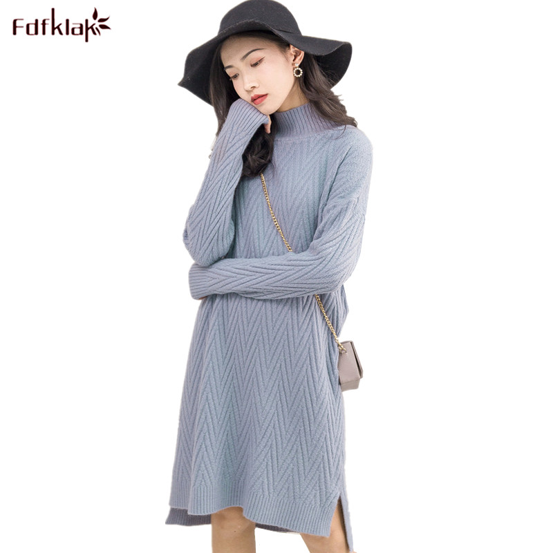 2018 Korean Fashion Women Warm Knitted Sweater Dresses Autumn Winter Female Half Turtleneck Long Sleeve Sexy Mini Knitwear DressÎäåæäà è àêñåññóàðû<br><br>