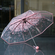 New Cherry Blossom Transparent Umbrella Rain Women 3 Folding Sakura Flower Umbrella Female Rain Tools Transparent Umbrella Art