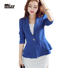 MISS 2016 Women Royal Blue Blazer Suit Work Ruffle Long Sleeve Candy Color Single Button Slim Ladies Blazers Jacket T5B015