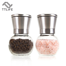 TTLIFE Best Quality 2pcs Stainless Steel Salt and Pepper Grinder Set Brushed Stainless Steel Glass Round Body Pepper grinder