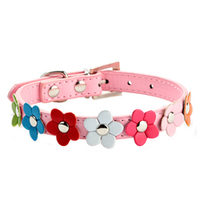Hot 5 Color Studded Pet Dog Leather Collar Buckle Puppy Dog Neck Strap Cat Collar Sweet Flower Collar