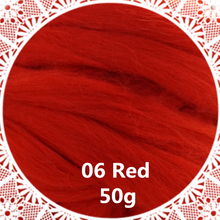 Free shipping handmade Wool Felt for felting 50g Red Perfect in Needle Felt 28#