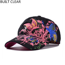 (BUILT CLEAR) new fashion butterfly embroidery female adjustable sports cap snapback ladies outdoor sunscreen baseball cap