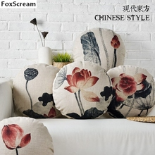 Traditional Chinese Lotus Flower Decorative Floral Lotus Throw Pillows Yoga cushion Round Cushions Almofadas Cusions For Sofa