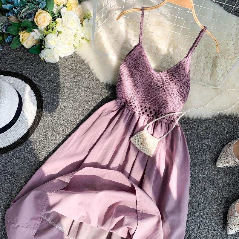 19 new fashion women's dresses Fresh openwork knit stitching V-neck strap high waist dress 13
