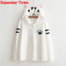 Neko Atsume Hoody Sweatshirts Mori Girl Thin Cat Hoodie With Ears Harajuku Sweet Lolita Coat Moletom Kawaii Clothes Anime Hoodie
