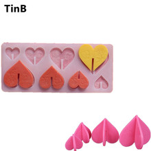 Hot DIY Cake Tool 3D Heart Shape Silicone Chocolate Mold Cake Decorating Flower Rose Birthday Cake Chocolate Mold Baking Stencil(China)