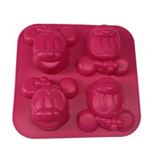 4 Even Minnie Mickey Moon Cake Mold Silicone Kitchen Baking Silicone Bakeware Soap Mold Mold B098(China)