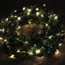 Waterproof 10M 100 LEDs leaf garland battery operate Copper LED fairy string lights for christmas wedding decoration party event