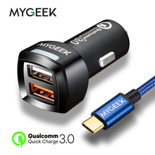 Buy MyGeek Universal USB Car Charger Qualcomm Quick Charge 3.0 Car-Charger Dual Fast Car Quick Charger iPhone 6 Samsung Xiaomi for $9.99 in AliExpress store