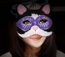 New Quality Handmade DIY Mask Halloween Black Masked Kitty Cat Mask Cosplay Costume Paper Mache Pulp Mask(China)