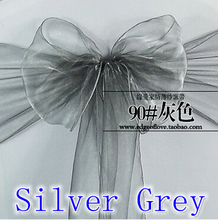 Silver grey colour Chair Sashes crystal Organza sash Wedding Party Decoration Bow sash wholesale snow organza silk sash band(China)