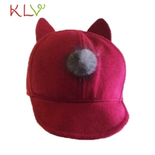 2017 Visors Baby Toddler Rabbit Ears Winter Beanie Earflap Ball Warm Hat Y8073(China)