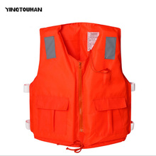 YINGTOUMAN Life Jacket Swimming Boating Ski Foam Floating Vest+Whistle Safety Aid Sports Foam Buoyancy Vest With Zipper(China)