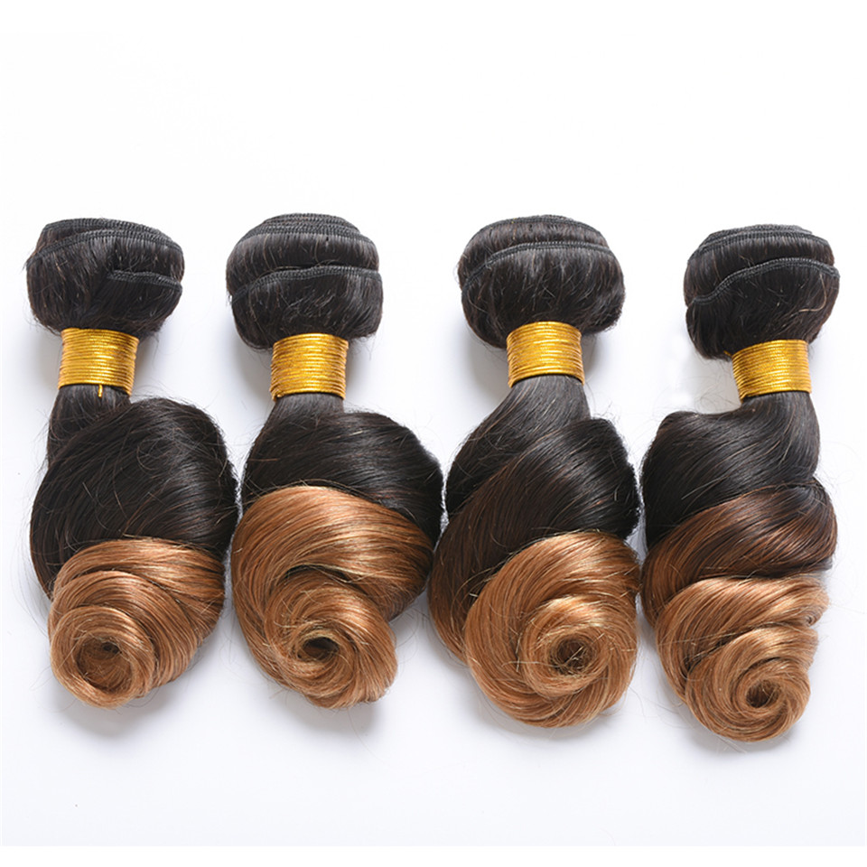 Luduna Hair Ombre Peruvian Loose Wave 1b/27 Blonde Human Hair Extensions Non-Remy Hair Weave Bundles 1 PC Tow Tone Color Hair