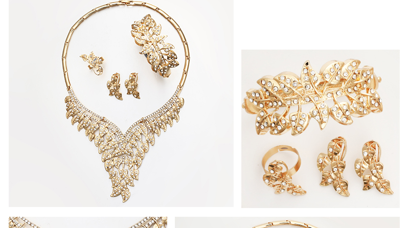 CWEEL Jewelry Sets Luxury Women African Jewelry Set Plant Imitation Crystal Wedding Jewellery For Bride Dubai Jewelry Sets (4)