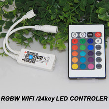 DC12V MIni Wifi RGBW LED Controler + 24 Key IR Remote Controller for RGBW LED Strip Light(China)
