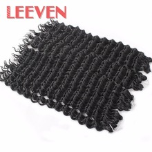 Leeven 18''75g Synthetic Crochet Curly Braids Hair Deep Braiding Bundles Hair Extension Kanekalon 8PCS For Black Women