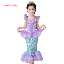 2016 Princess Ariel Mermaid Fanny Stage Clothes Child Kids Girls Halloween Christmas Cosplay Costume Little Ariel Mermaid Dress