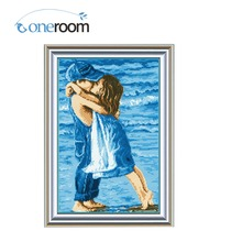 nOneroom Colorful Embroidery Cross Stitch Needlework Kiss Embrace Sea Cross-Stitching sets Handmade Art DIY Home Decoration
