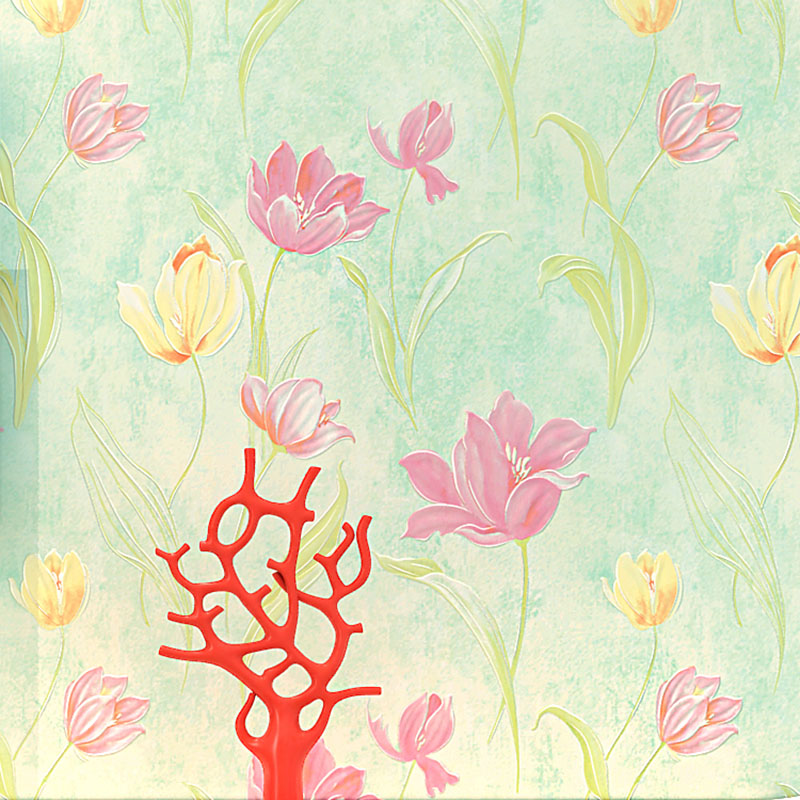 Modern Wallpaper for Walls 3 d Lotus Floral Wall Paper Roll Non Woven Pink Flower Wallpapers Bedroom Green Contact Paper Mural<br>