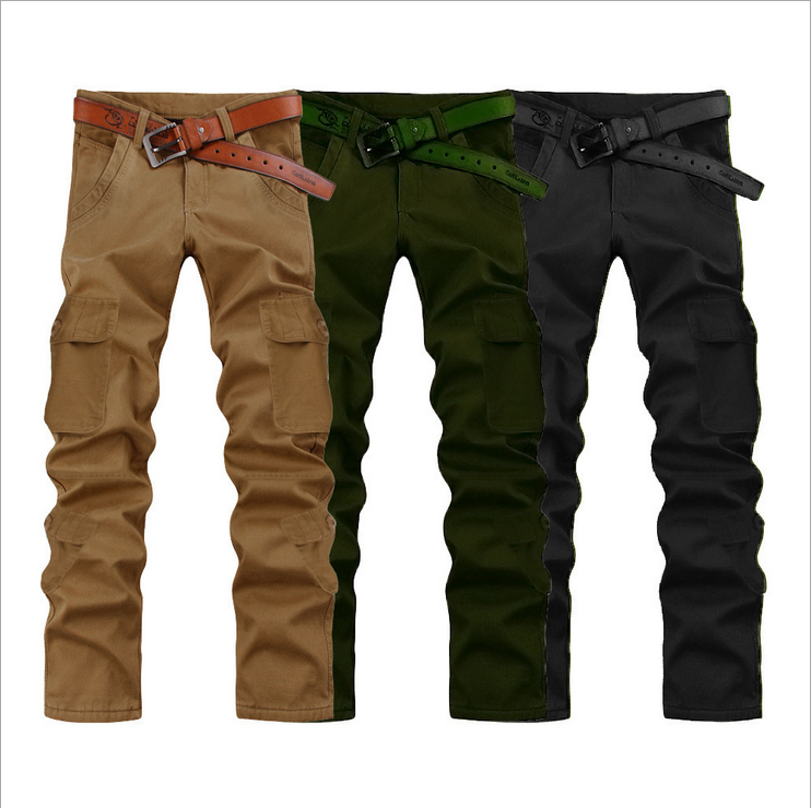Hot Straight Mens Loose Zipper Fly Multi-Pocket Cargo Pants Full-Length Plus Size Urban Outdoors Tooling Summer Casual TrousersÎäåæäà è àêñåññóàðû<br><br>