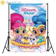 Sunsfun 5x7FT Shimmer And Shine Animal Pets Castle Custom Photo Studio Backdrop Background Vinyl 220cm x 150cm