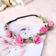 M MISM New Girls Hair Accessories Azaleas Flowers Headband Hair Wreath Festival Wedding Garland Hair Band Bride Elastic Headband(China)