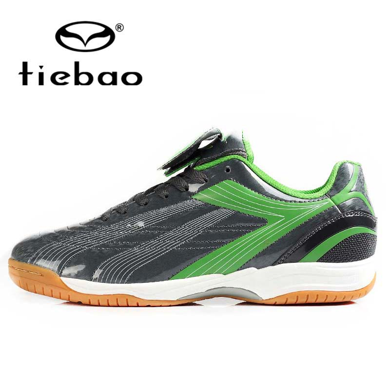 TIEBAO Professional Men Women IN &amp; IC Sole Shoe Indoor Football Boots PVC Leather Athletic Training Soccer Shoes chuteira futsal<br>