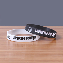 50pcs/lot Linkin Park Silicone Bands White And Black Rubber Wristbands For Music Silicone Bracelets