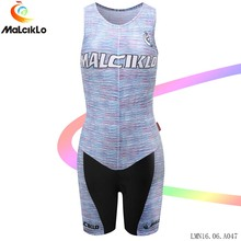 Malciklo Team Bike Set Jumpsuit Sleeveless Women 2017 Gray V-neck High-Quality Cycling jersey Coveralls Bicycle Apparel
