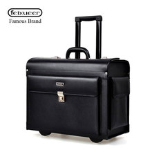 feixueer 18 Inch Luxury Business Genuine Leather Trolley Suitcase Pilot Captain Rolling Luggage Men's Travel Case Women Brown