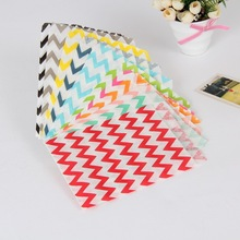 "5*7 "" Stripe Chevron Paper Bag Biscuit Cake Cookie PackageTreat Goodie Bags Wedding Party Candy Gift Favour 100 pcs/lot"