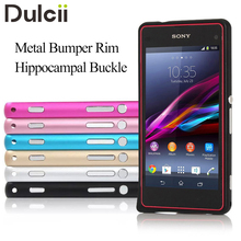 DULCII for Sony Xperia Z1 Mini Compact Bumper Case Metal Bumper Rim Hippocampal Buckle Phone Cover for Sony Z1 Compact Shells(China)