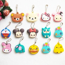 Cartoon Animal Key Cap Owl Keychain Women Bag Charm Key Holder Silicone Key Chain Hello Kitty Key Ring Mickey Key Cover
