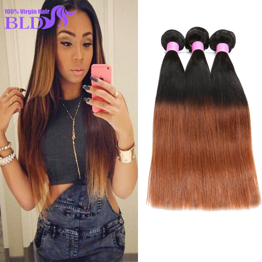 3 Pcs Lot Brazilian Hair Weave Bundles Affordable 100 Real Human Hair Extensions T1B/30 Ombre Brown Brazillian Straight Hair 7A<br><br>Aliexpress