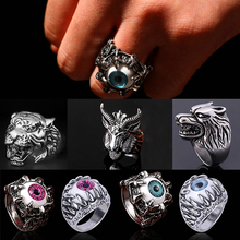 LNRRABC 1pc New Fashion Men Silver Cool Finger Rings Stainless Steel Gothic Jewelry Personality Novelty(China)