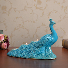 fashion creative exquisite simulation blue peacock candle holder home accessories ceramic candlestick festival ornaments(China)
