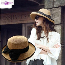 2016 New Straw Hat Big Bow Fashion Summer Hats for Women Chapeau Paille Wide Brim Floppy Beach Sun Cap Foldable Summer Sunhat